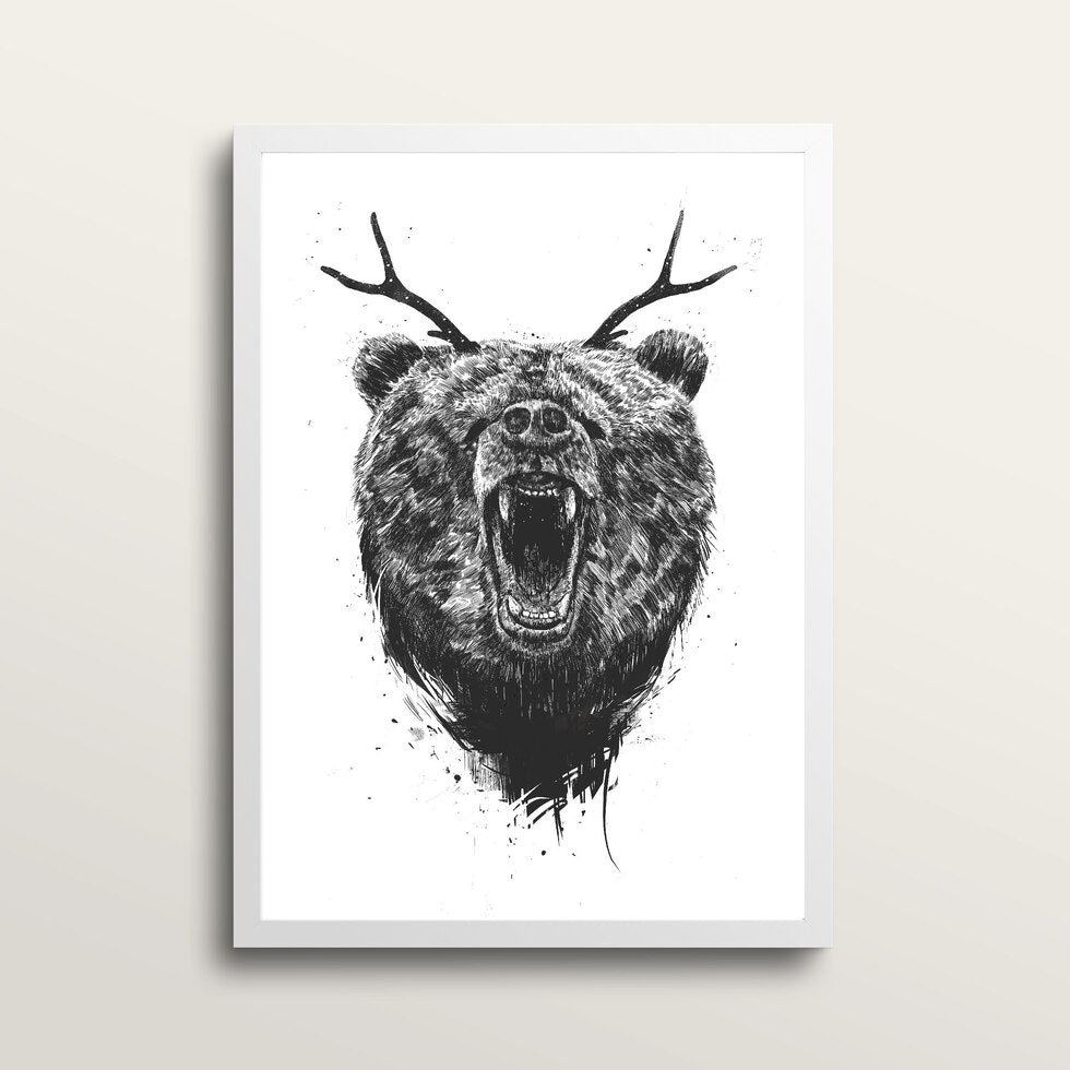 Angry Bear With Antlers - Art Print - in medium A3 white frame