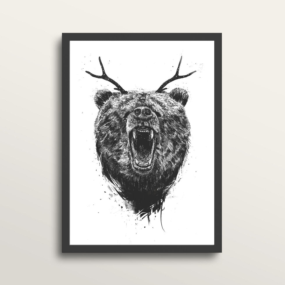 Angry Bear With Antlers - Art Print - in medium A3 black frame