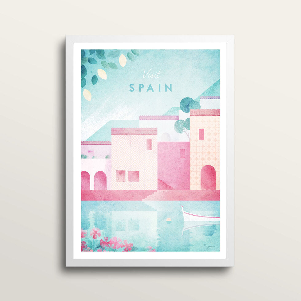 Spain - Art Print - in large A2 white frame
