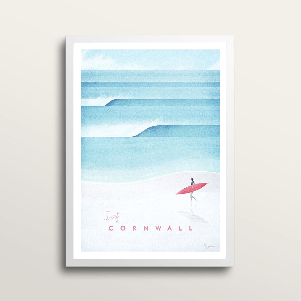 Cornwall - Art Print - in large A2 white frame