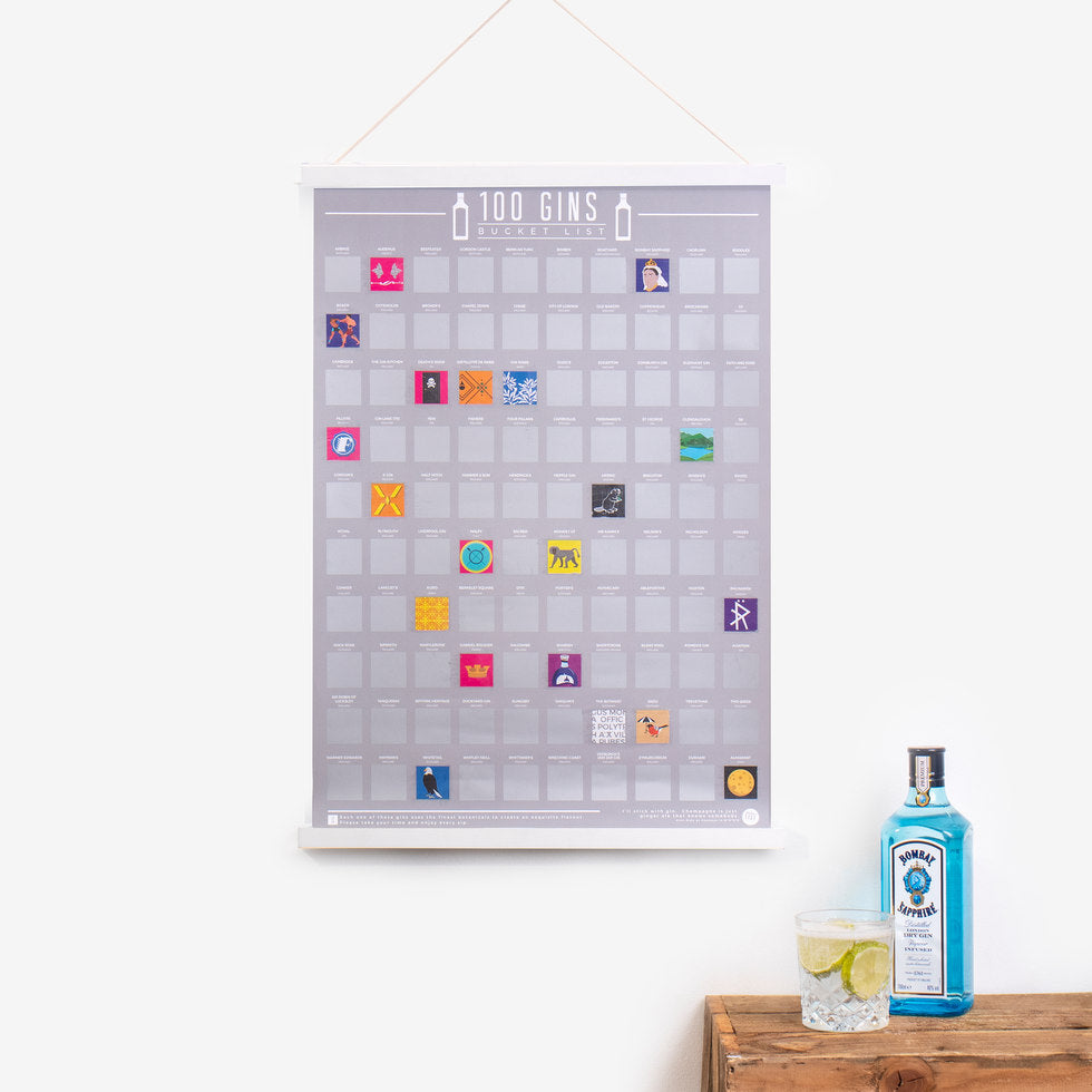 100 Gins Scratch Poster