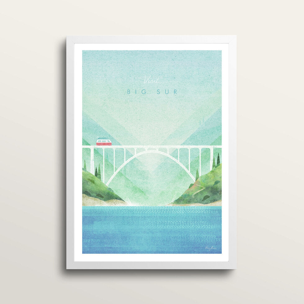 Big Sur - Art Print - in medium A3 white frame