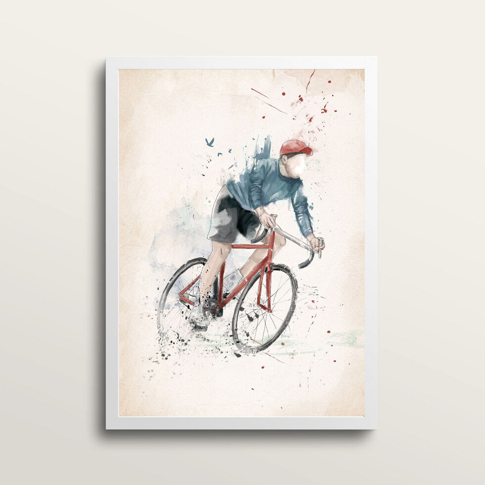 I Want To Ride My Bycicle - Art Print - in medium A3 white frame