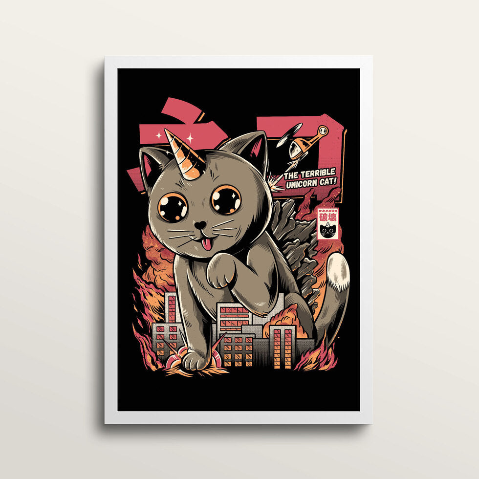 Catzilla - Art Print - in large A2 white frame