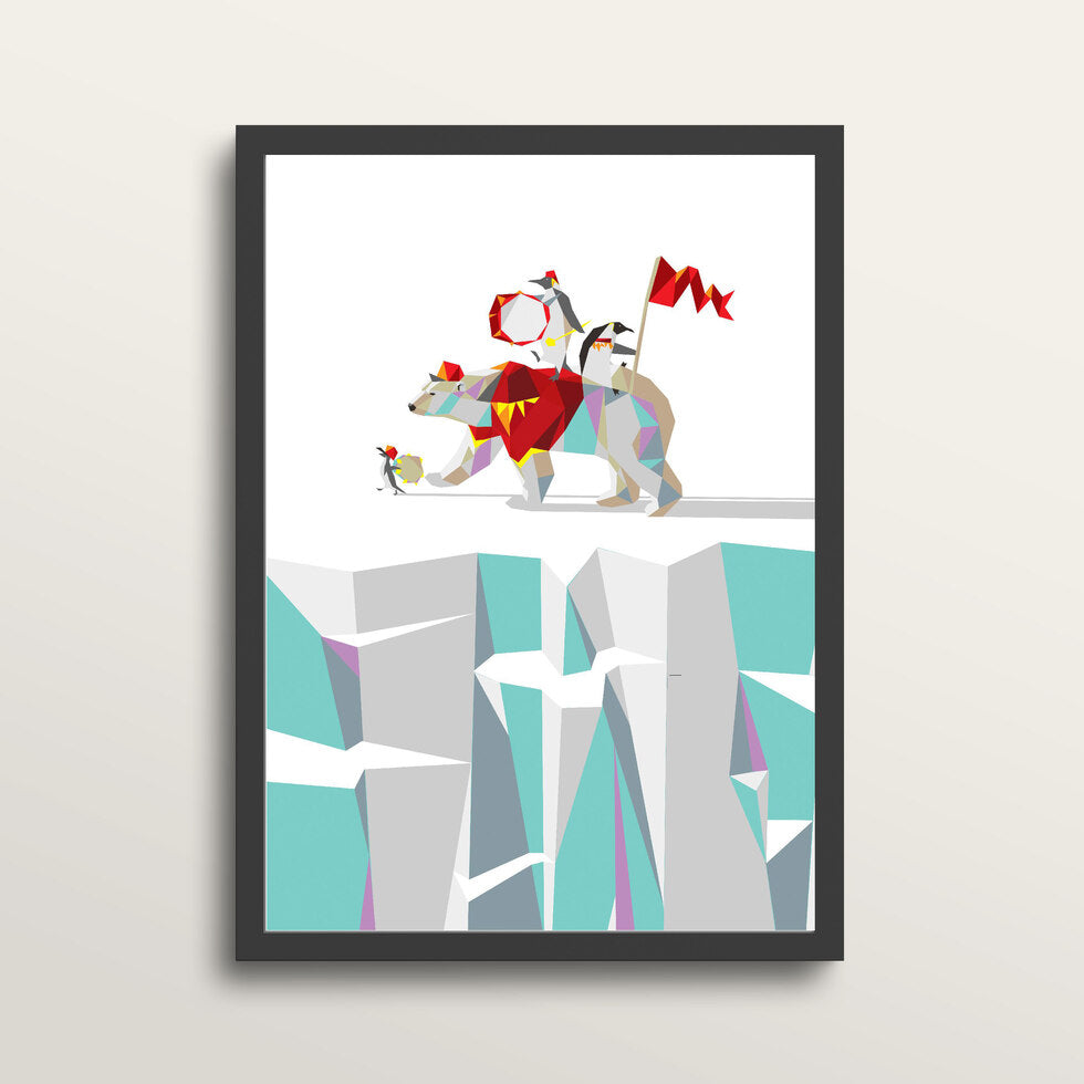 Private Penguins Polar Percusion - Art Print - in medium A3 black frame