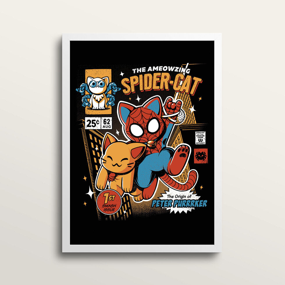 Spider Cat - Art Print - in large A2 white frame