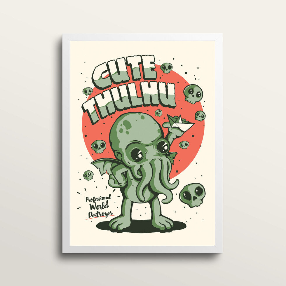 Cutethulhu - Art Print - in medium A3 white frame