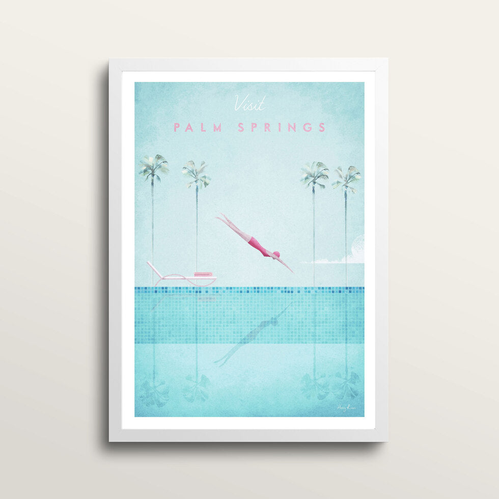 Palm Springs - Art Print - in large A2 white frame