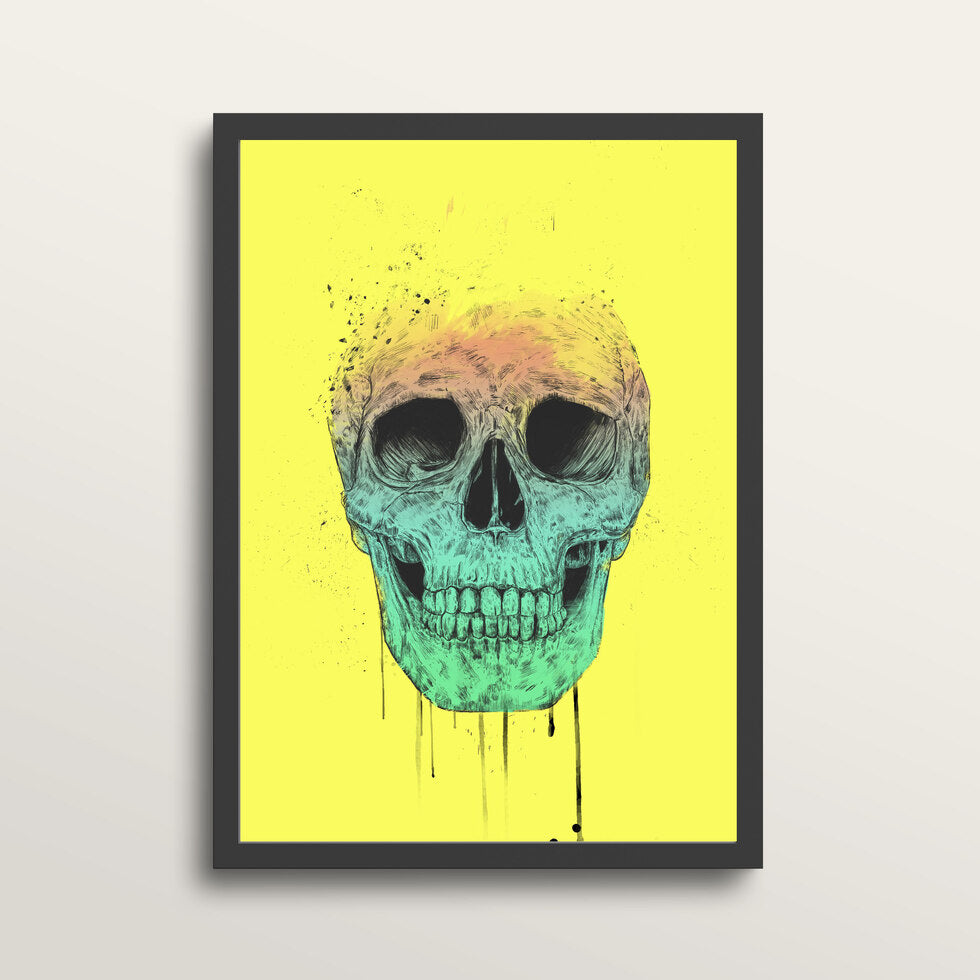 Pop Art Skull - Art Print - in medium A3 black frame