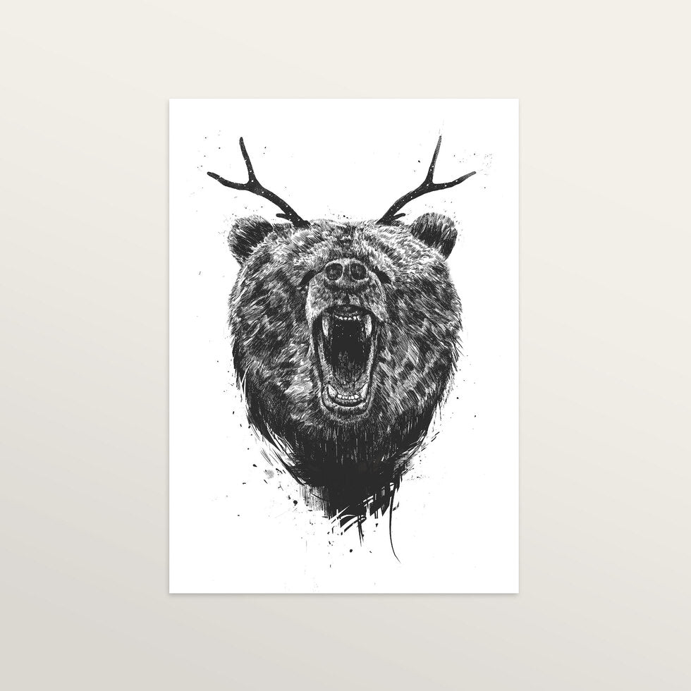 Angry Bear With Antlers - Art Print - medium A3 print only