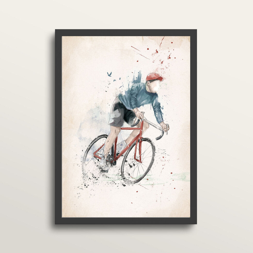 I Want To Ride My Bycicle - Art Print - in medium A3 black frame