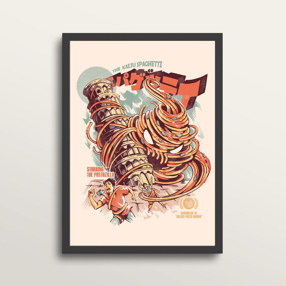 The Kaiju Spaghetti - Art Print - in medium A3 black frame
