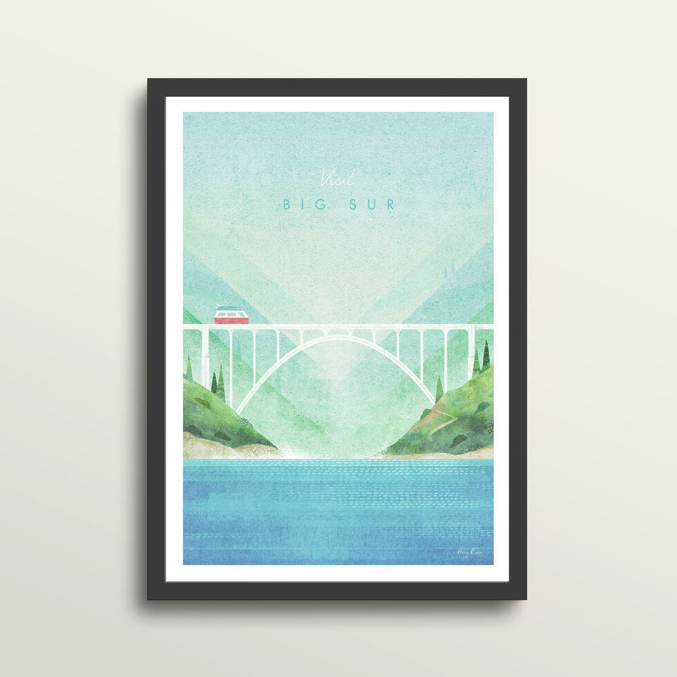 Big Sur - Art Print - in medium A3 black frame