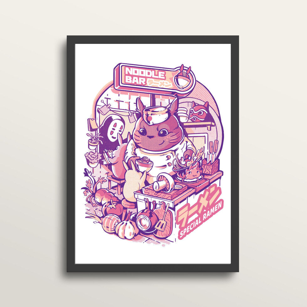 My Neighbor Noodle Bar - Art Print - in medium A3 black frame