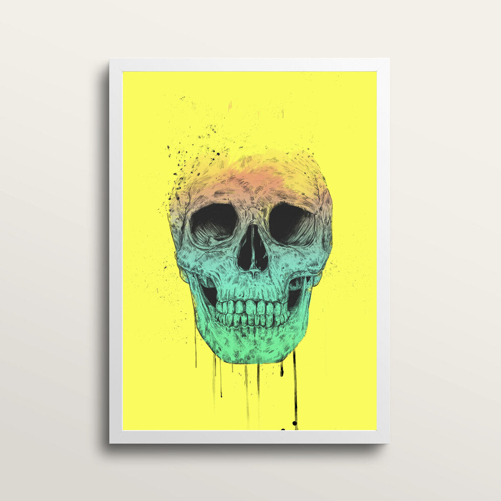 Pop Art Skull - Art Print - in large A2 white frame