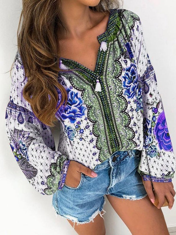 Print Color Block Mid-Length Long Sleeve Blouse
