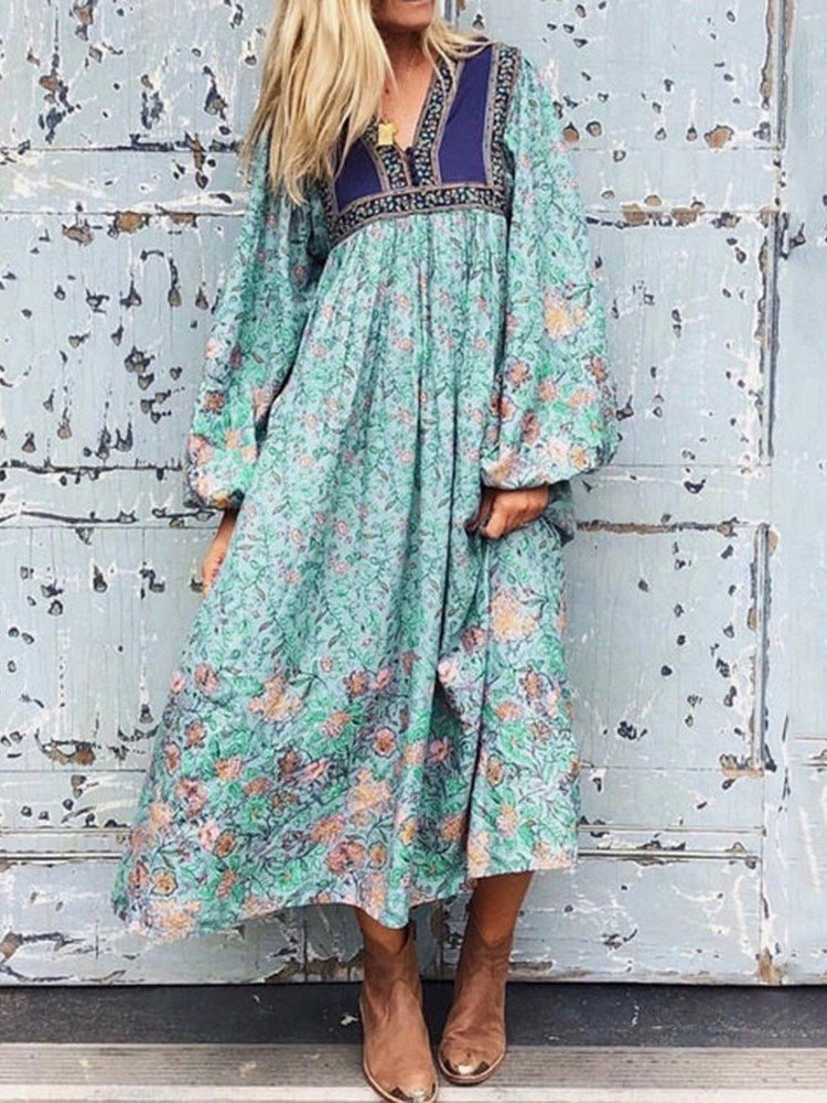 V-Neck Long Sleeve Patchwork Floral Pullover Dress