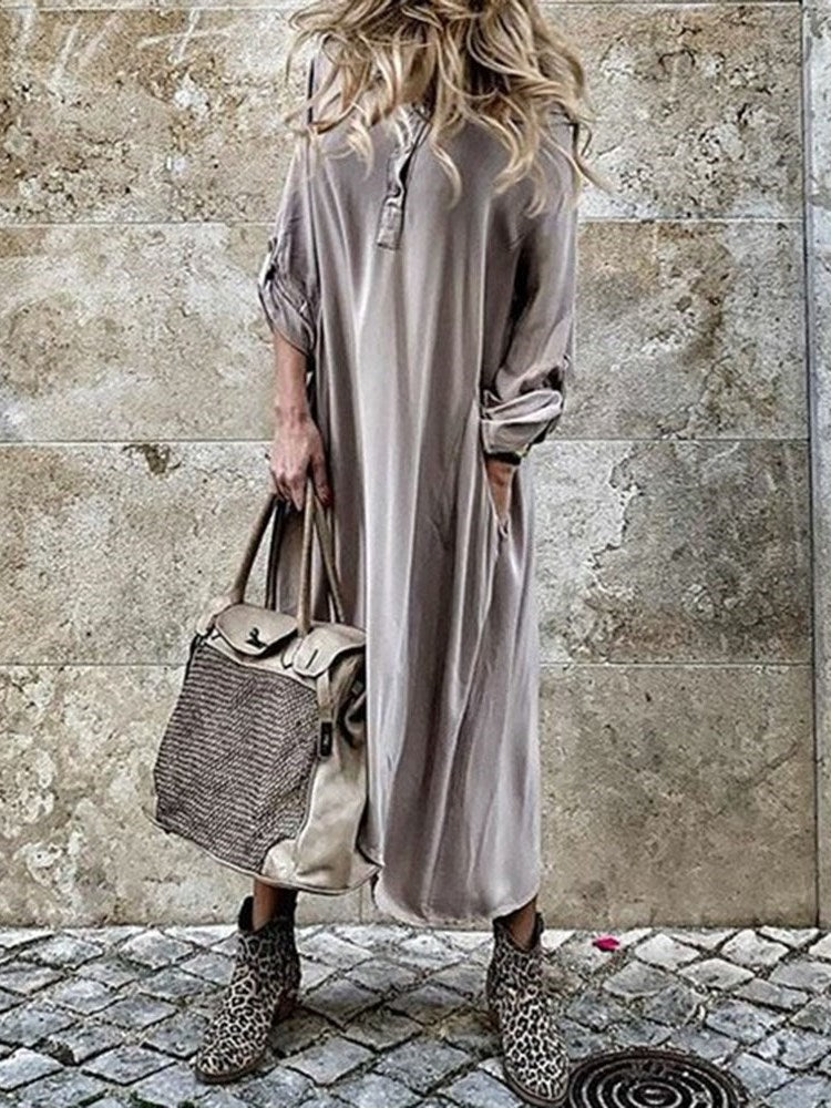 Asymmetric Three-Quarter Sleeve Ankle-Length Pullover Plain Dress