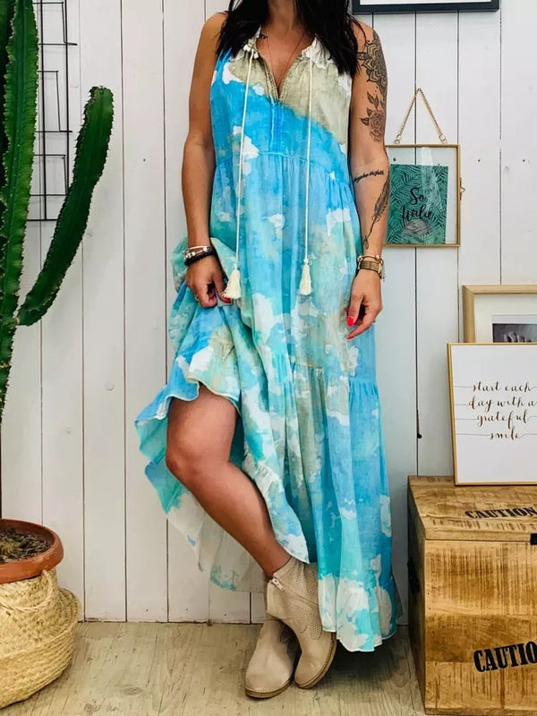 Sleeveless Print Ankle-Length Casual A-Line Dress