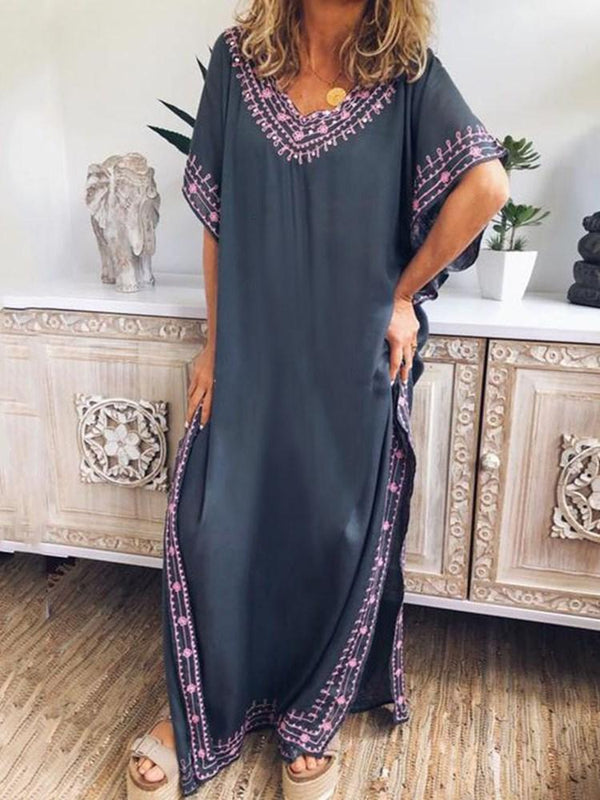 Embroidery Floor-Length Short Sleeve Color Block Pullover Dress