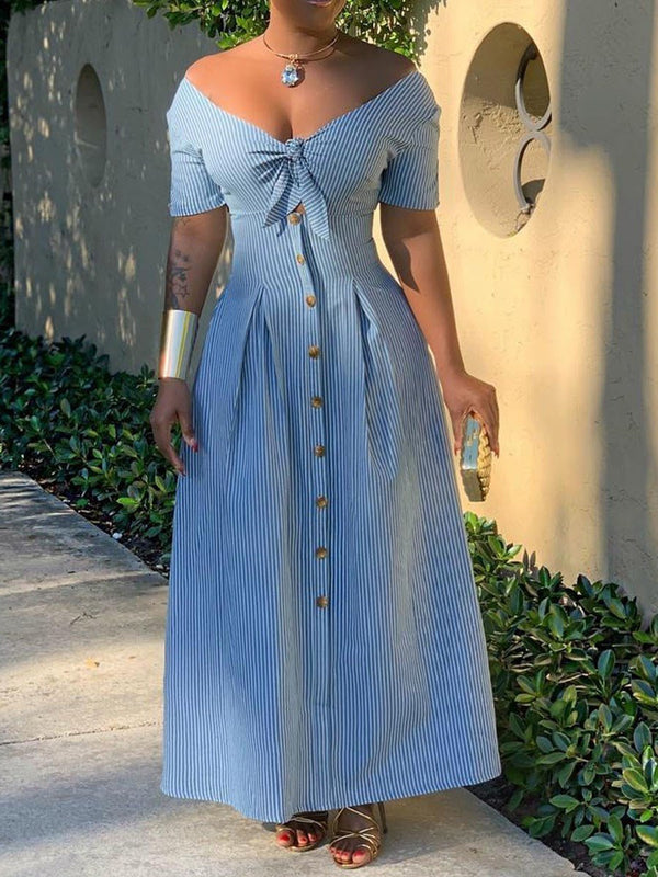Ankle-Length V-Neck Button A-Line High Waist Dress