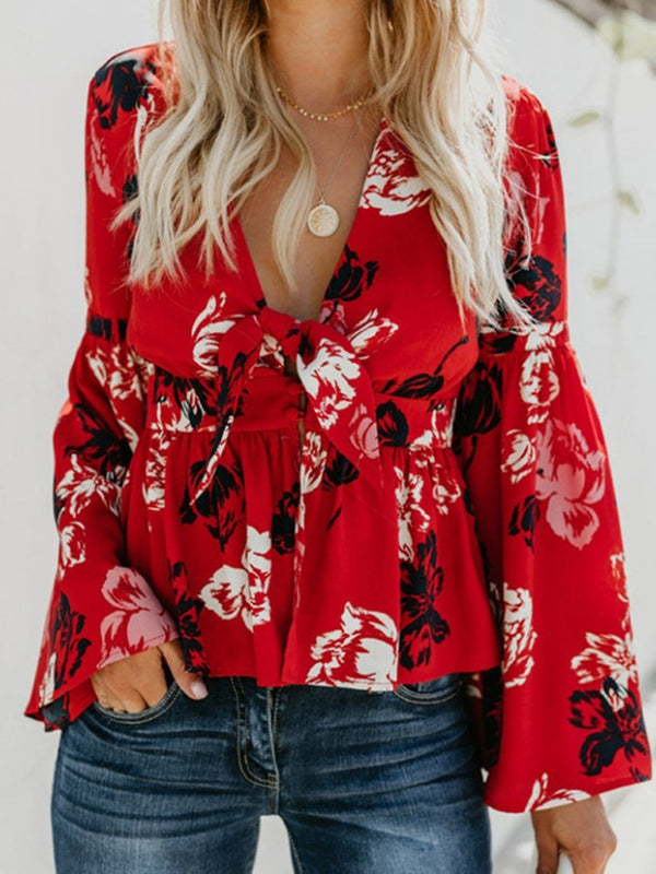 V-Neck Flare Sleeve Color Block Long Sleeve Standard Blouse
