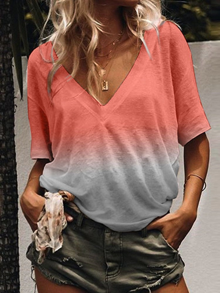 Gradient Mid-Length V-Neck Loose Casual T-Shirt