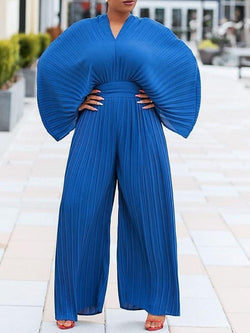 Full Length Pleated Western Wide Legs Slim Jumpsuit