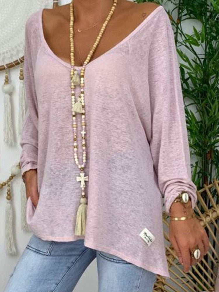 Mid-Length Long Sleeve Plain Casual Loose T-Shirt