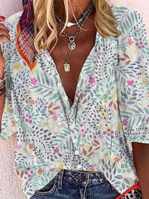 Print Lapel Plant Three-Quarter Sleeve Standard Blouse