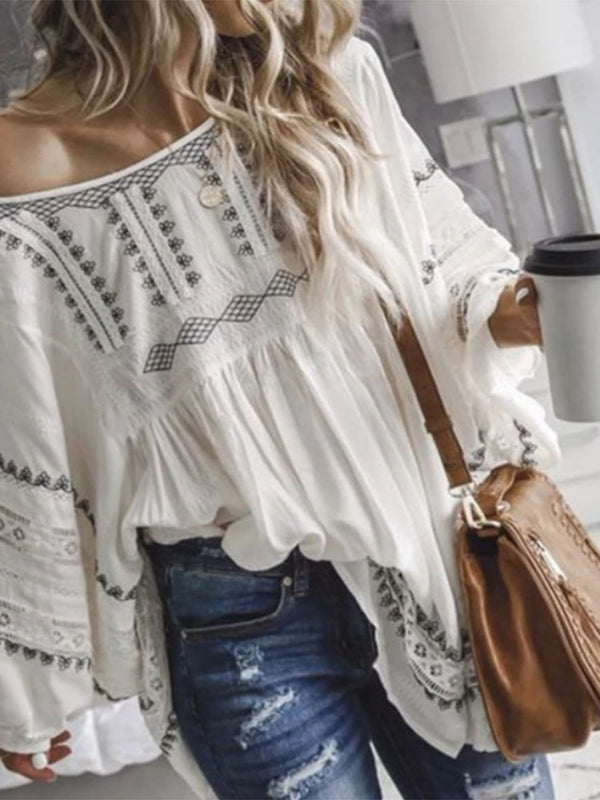 Off Shoulder Hollow Color Block Mid-Length Long Sleeve Blouse