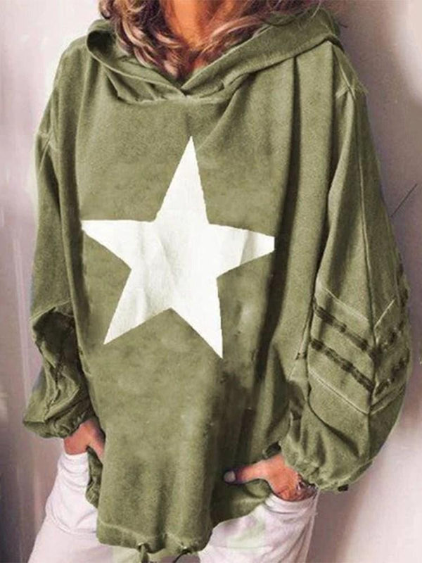 Print Star Mid-Length Hooded Hoodie