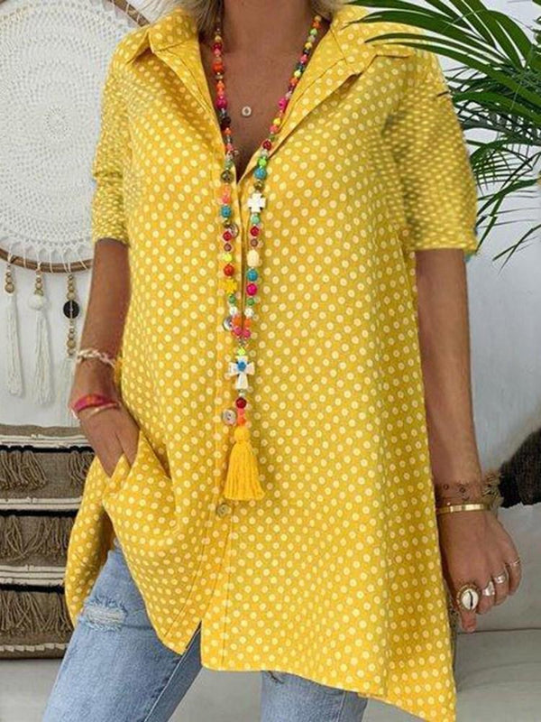 Print Lapel Polka Dots Mid-Length Short Sleeve Blouse