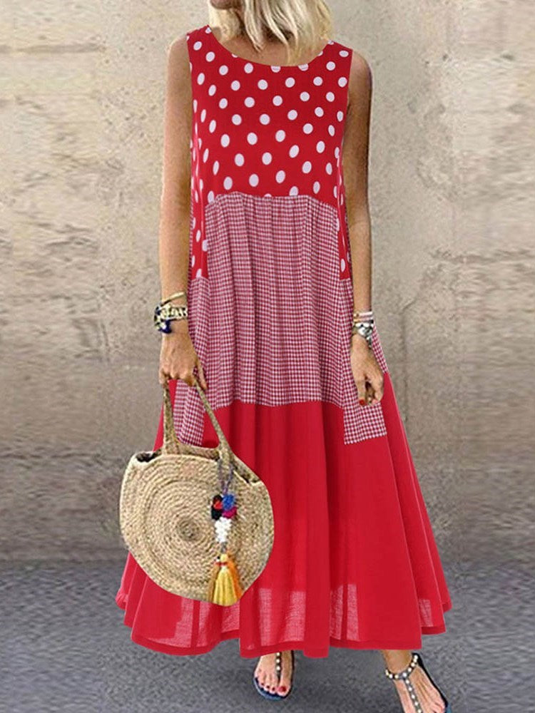Print Sleeveless Round Neck Polka Dots Casual Dress