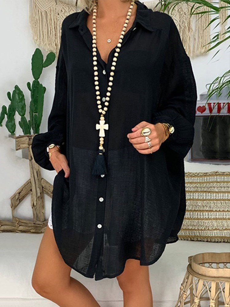 Asymmetric Lapel Plain Mid-Length Long Sleeve Blouse