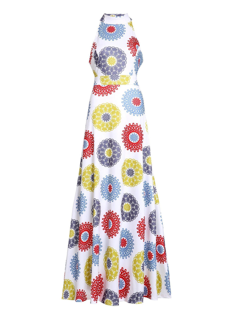 Floor-Length Sleeveless Print Standard-Waist Pullover Dress