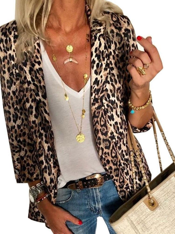 Leopard Lapel Nine Points Sleeve Standard Spring Casual Blazer