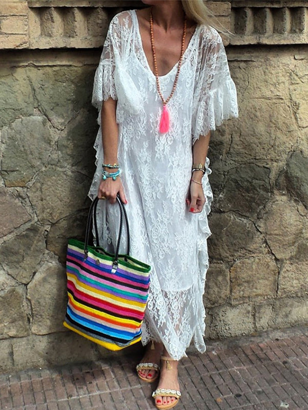 Mid-Calf Half Sleeve See-Through Summer Pullover Dress