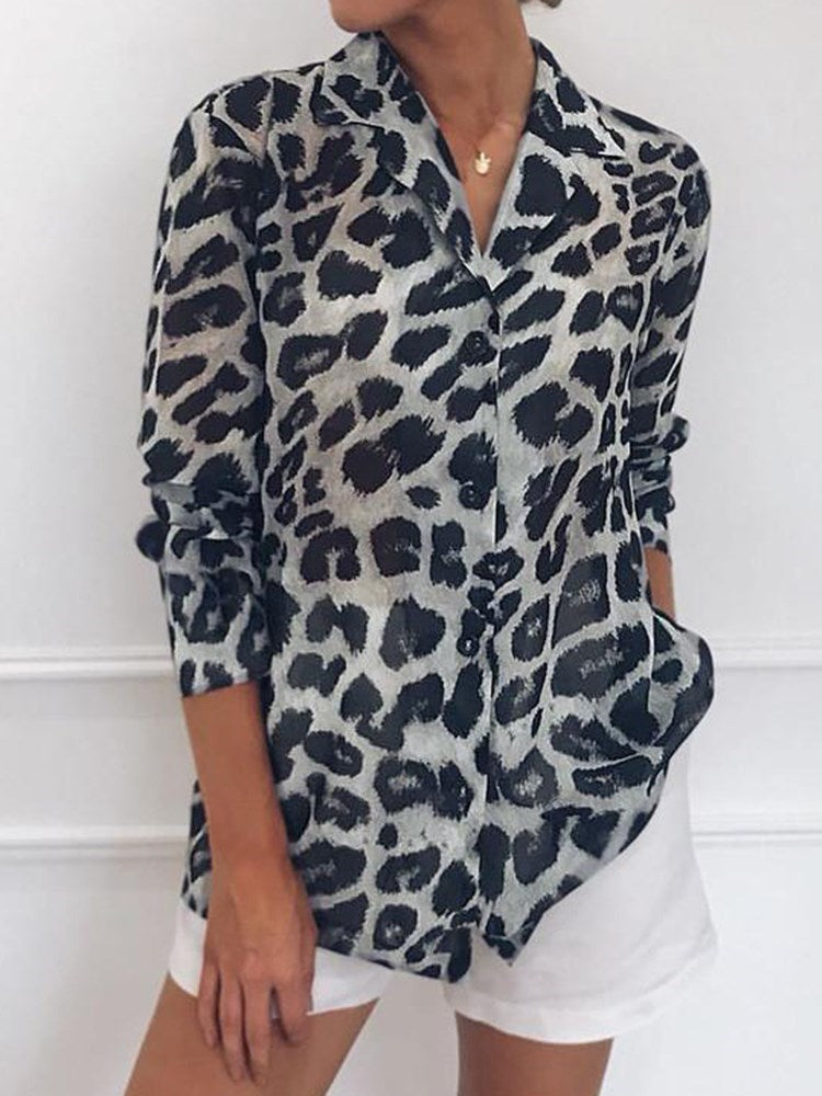 Lapel Print Leopard Long Sleeve Mid-Length Blouse