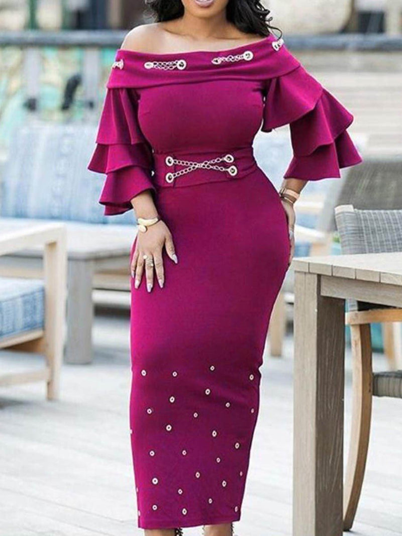Three-Quarter Sleeve Off Shoulder Falbala Bodycon Pullover Dress