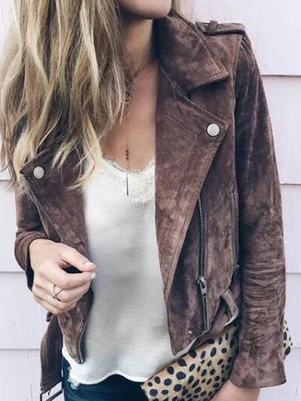 Slim Zipper Long Sleeve Lapel Standard Jacket