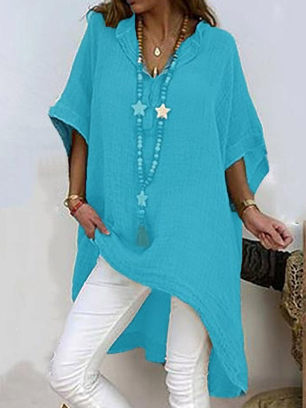 Plain Asymmetric Three-Quarter Sleeve Long Blouse
