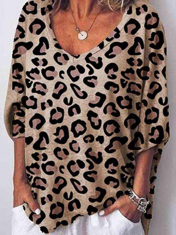 V-Neck Mid-Length Leopard Casual Loose T-Shirt