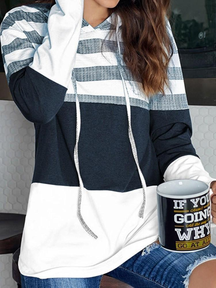 Patchwork Color Block Mid-Length Hooded Hoodie