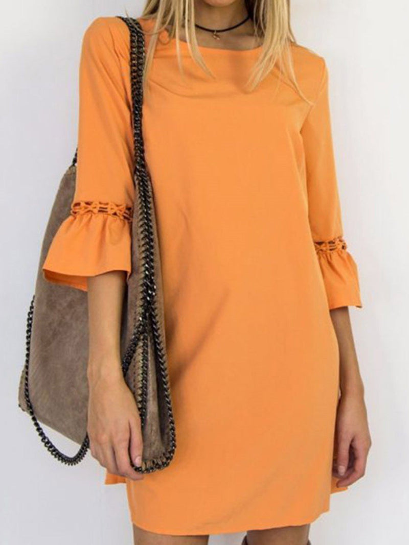 Round Neck Above Knee Three-Quarter Sleeve Pullover A-Line Dress