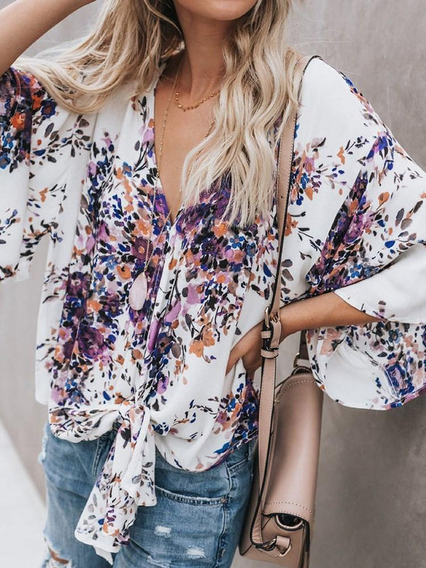 Print Color Block V-Neck Standard Three-Quarter Sleeve Blouse