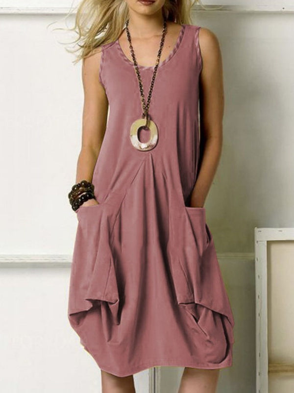 Sleeveless Knee-Length Pocket High Waist Plain Dress