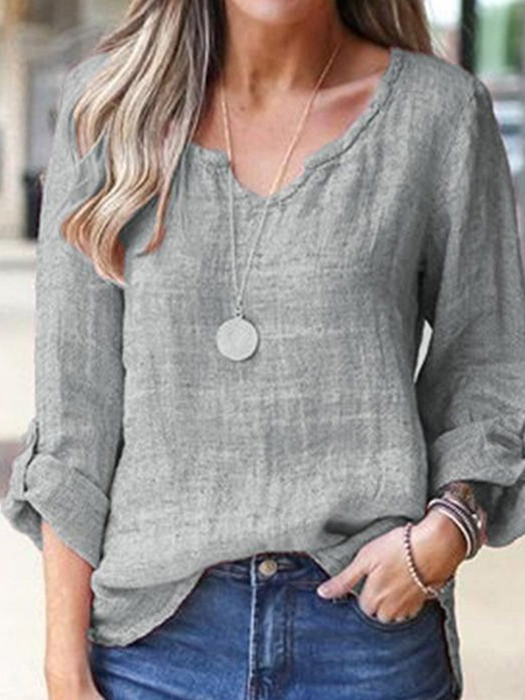 V-Neck Three-Quarter Sleeve Standard Casual Loose T-Shirt