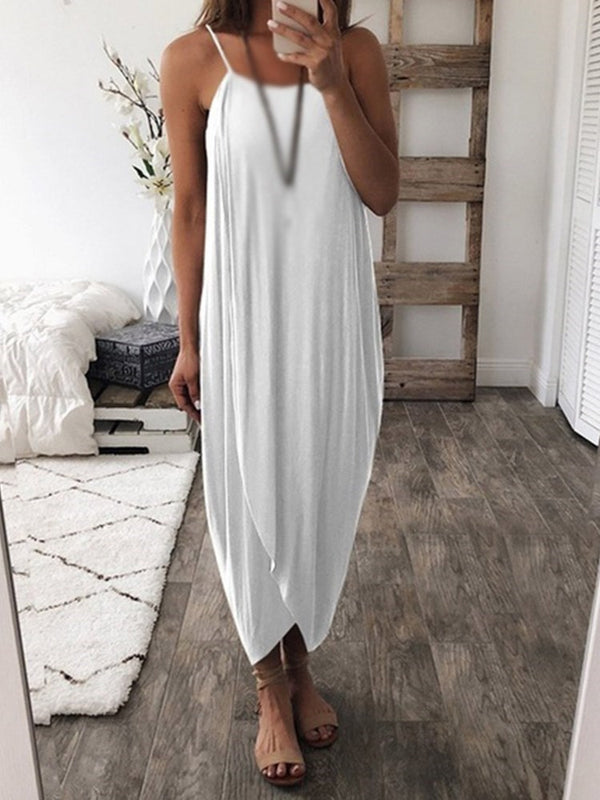 Ankle-Length Sleeveless Split Pullover Summer Dress