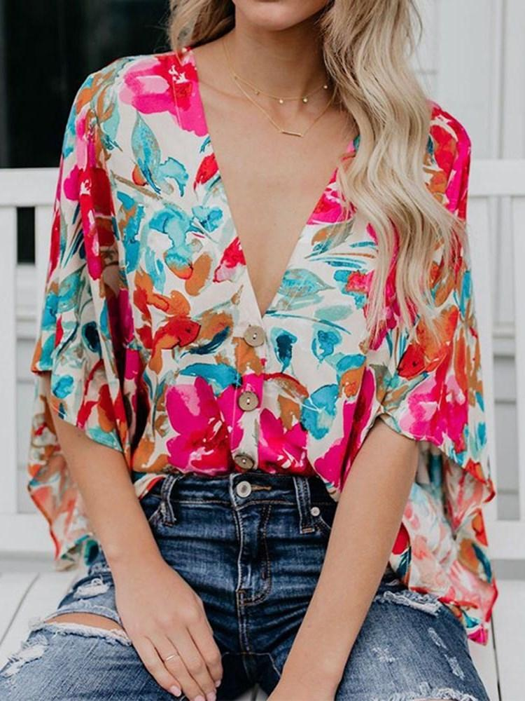 Color Block Print V-Neck Three-Quarter Sleeve Standard Blouse